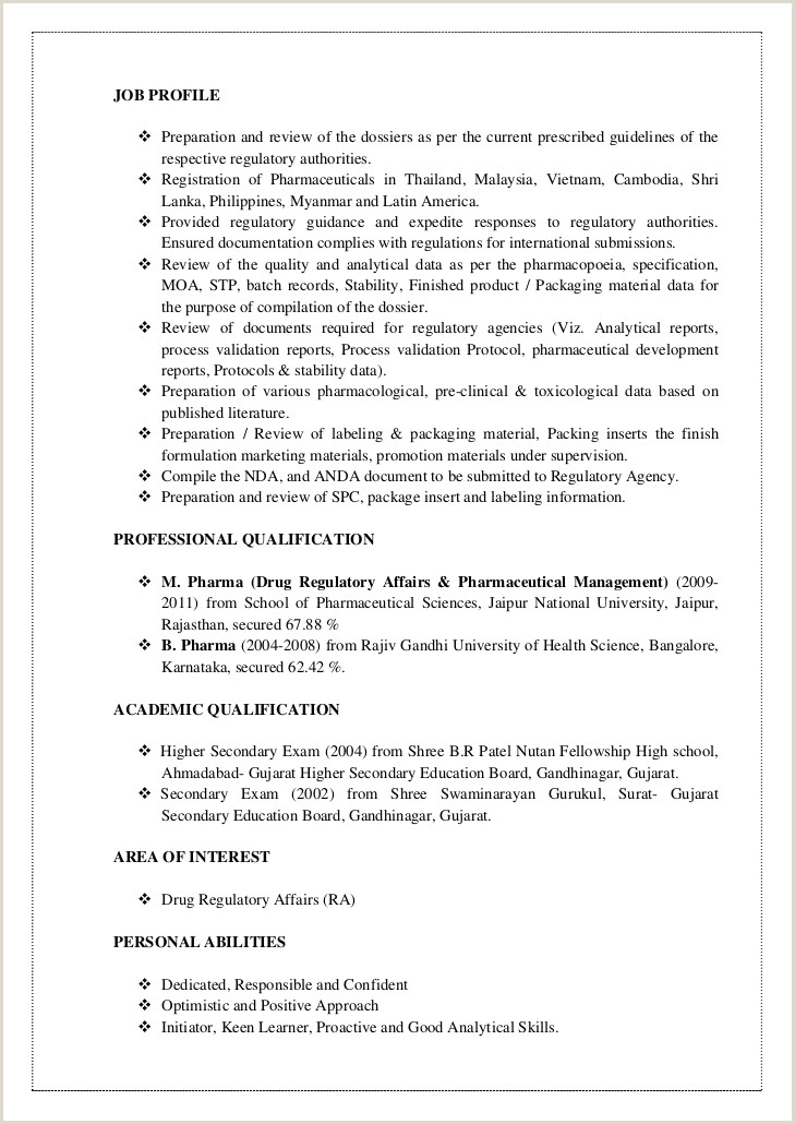 Resume format for Pharma Jobs Pdf Prakash Cv