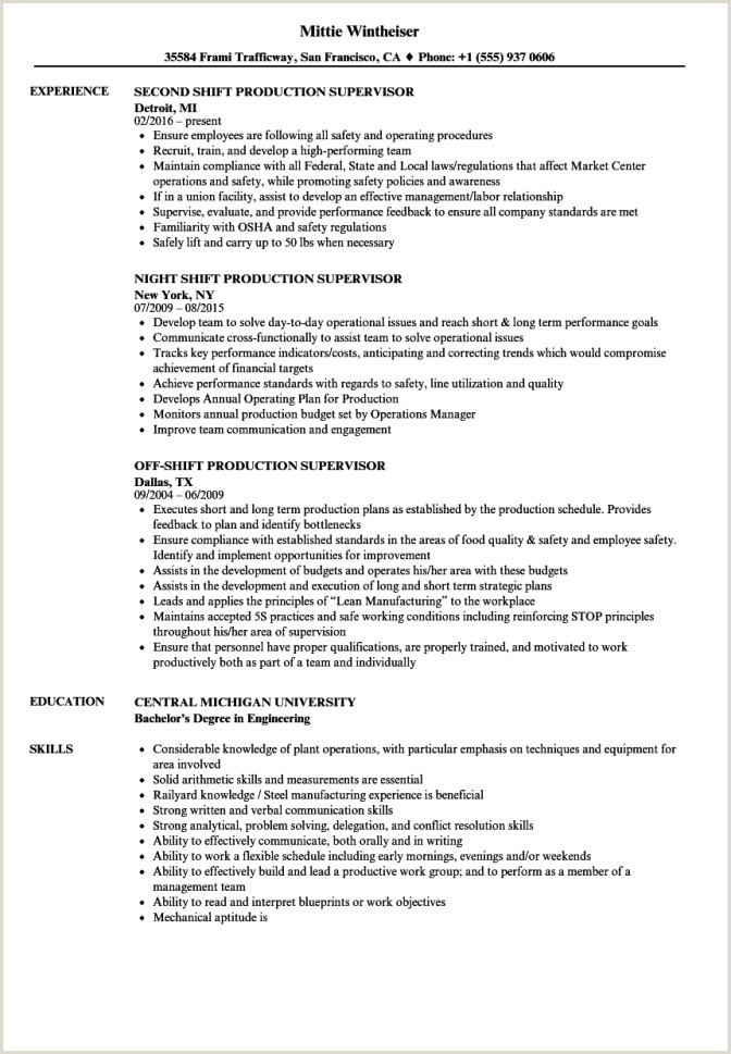 Shift Production Supervisor Resume Samples Velvet Jobs