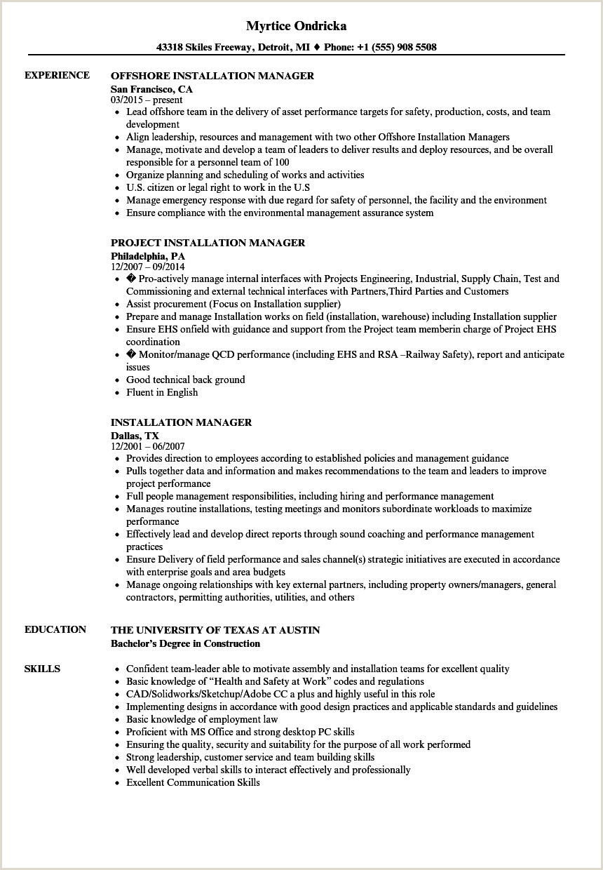 Resume format for Railway Jobs Installation Manager Resume Samples