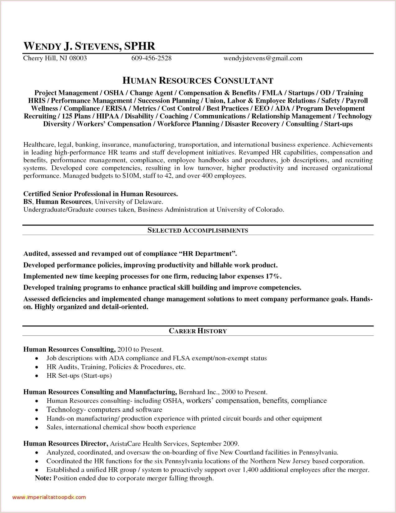 Powerful Human Resources Resume Example Examples Free P