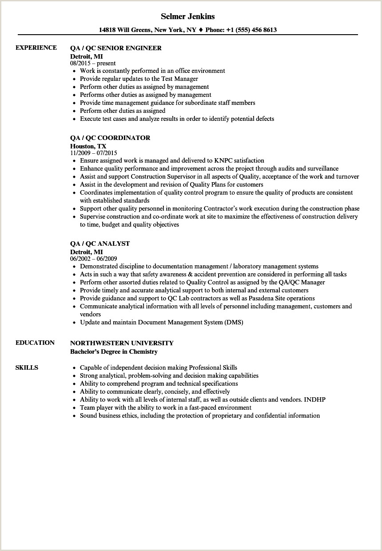 QA Qc Resume Samples