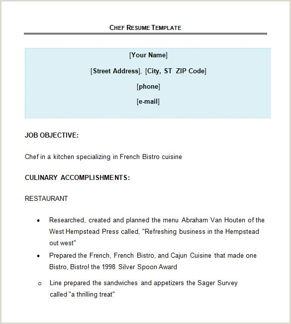 Resume format for Restaurant Job 14 Chef Resume Templates Word Pdf Google Docs