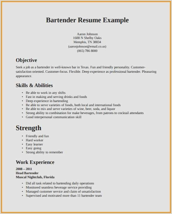 Resume format for Restaurant Job Restaurant Resume Sample New Resume Sample Restaurant Waiter