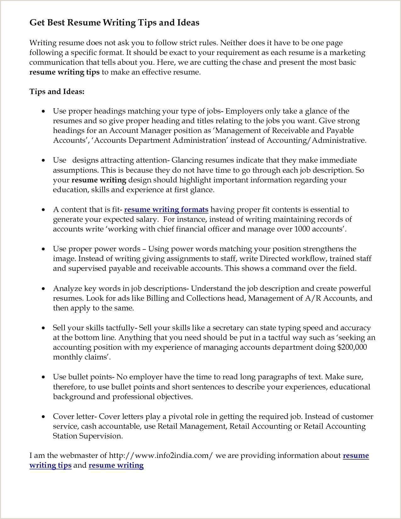 Resume format for Retail Job Bullet Points In Cover Letter Unique Collection Unique