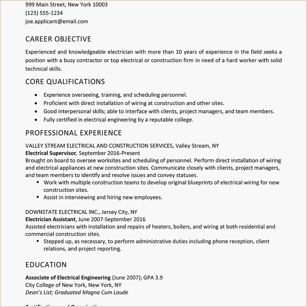 Resume format for Rig Jobs Sample Electrician Resume and Skills List
