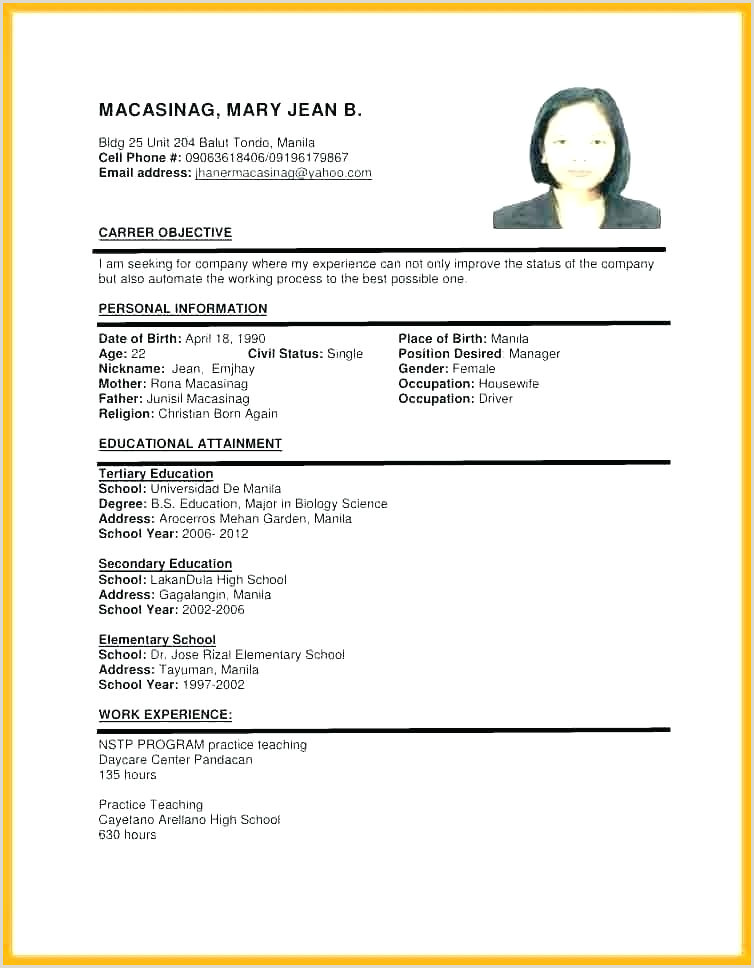 Resume format for Teacher Job Pdf Job Application Resume Template