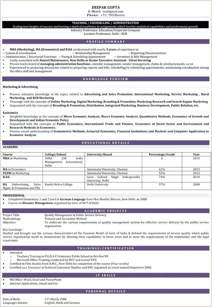 Resume format for Teachers Freshers Teacher Resume format – Agarvain