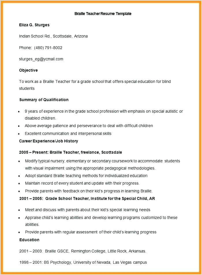 Resume format for Teaching Job Pdf Download Ficial Resume format Download Cv Template Pdf Examples