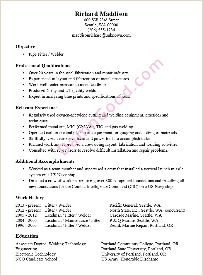 Resume format for Welder Job Piping Layout Resume Technical Diagrams