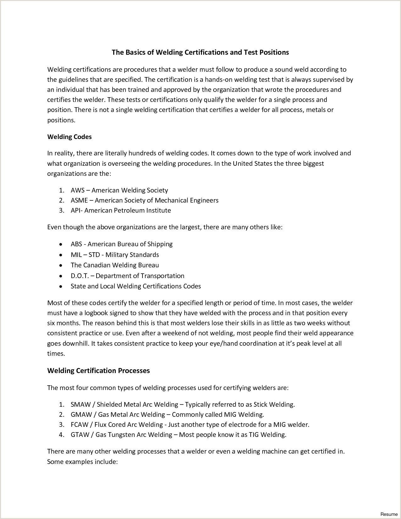 Unique Welder Sample Resume