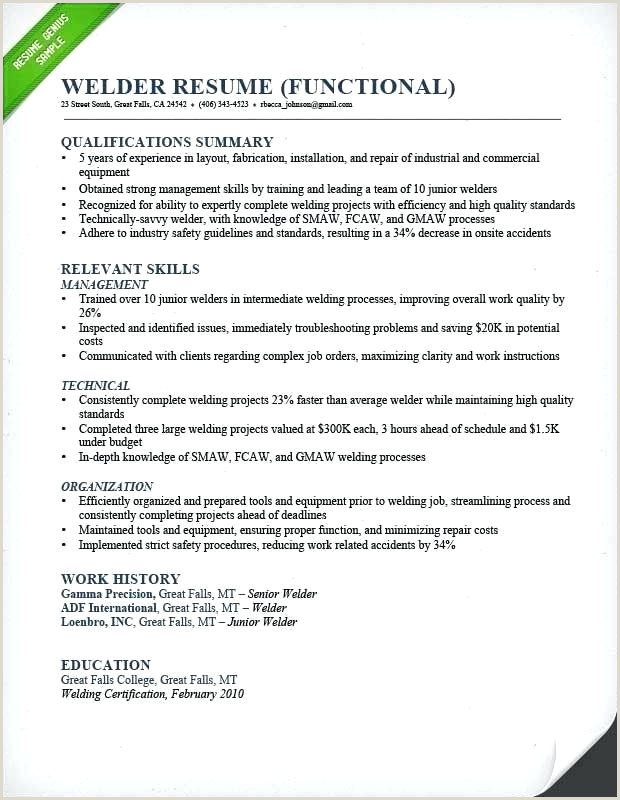 Welder Resume Template 6 Welding Professional List