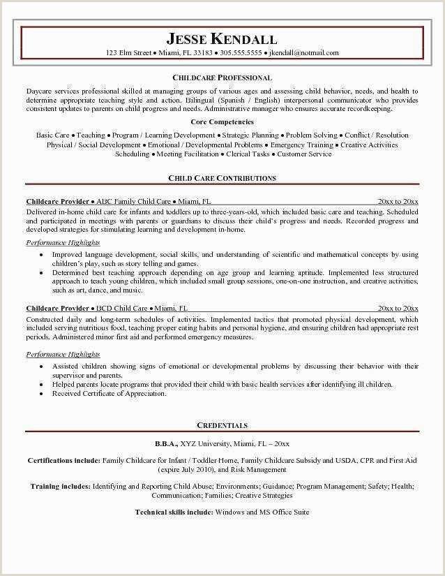 Daycare Resume Objective Free Child Care Resume Objective