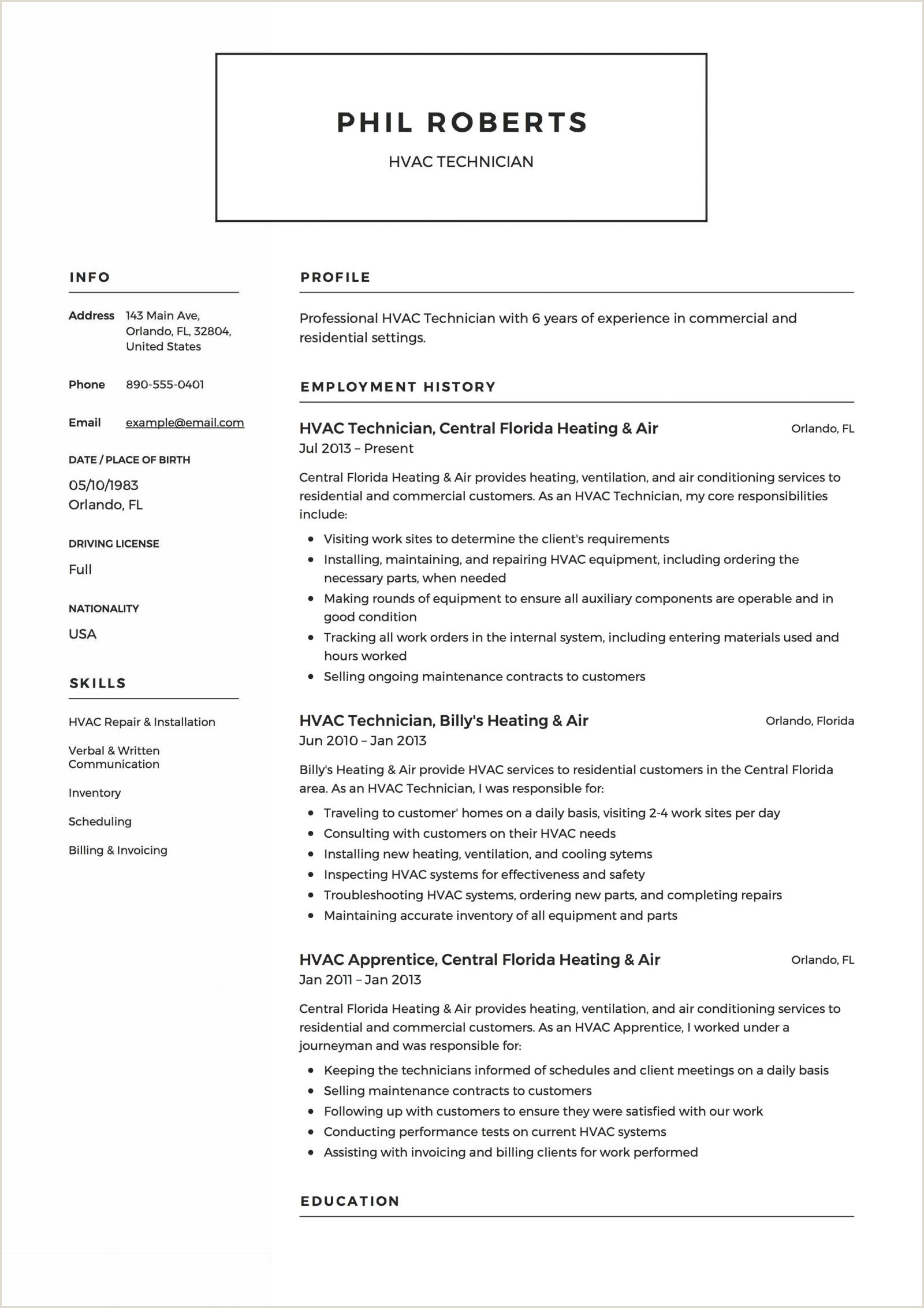 Resume Template for Hvac Technician Galerie Von Hvac Resume Templates theremedy Us Download