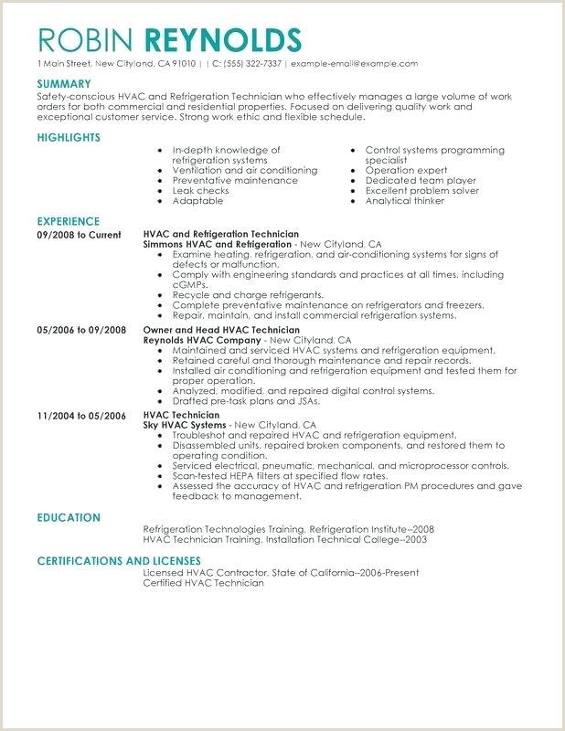 Resume Template for Hvac Technician Mercial Hvac Installer Sample Resume – Podarki