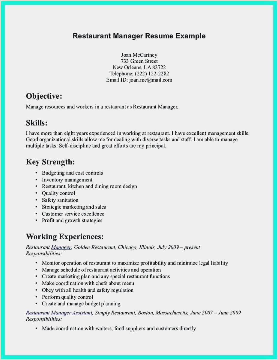 Resume Template for Restaurant Server Free 54 Restaurant Resume Templates Free Download