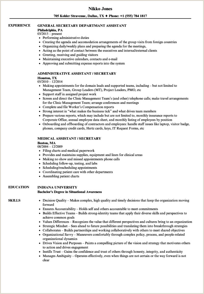 Resume Template for Secretary assistant Secretary Resume Samples Velvet Jobs Medical