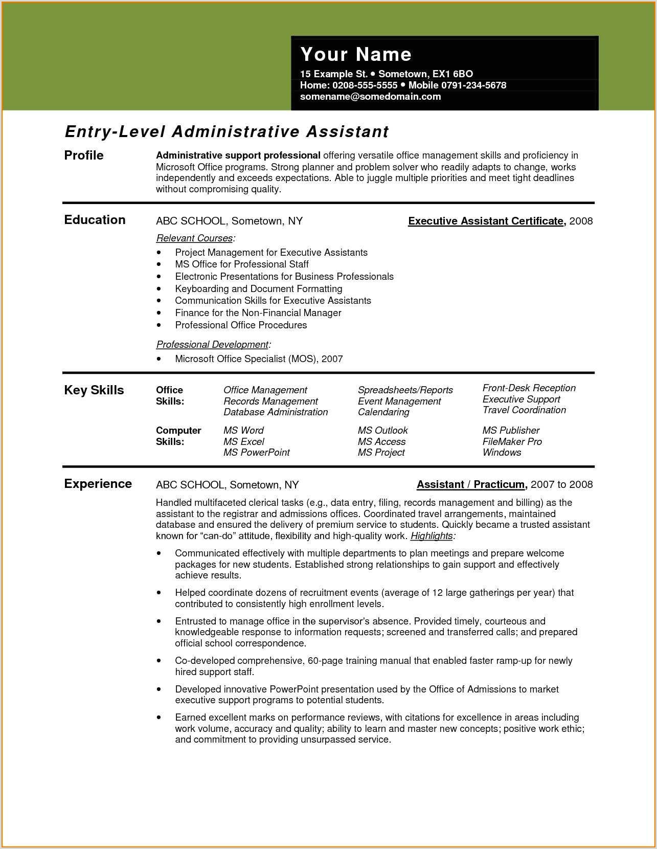 Lovely Executive Secretary Resume Sample – 50ger