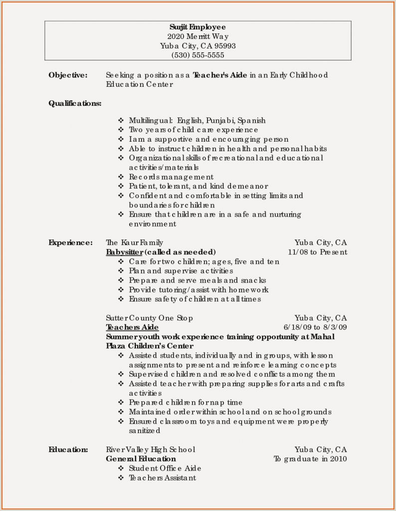 Resume Template In Spanish Inspirational Spanish Teacher Resume Examples