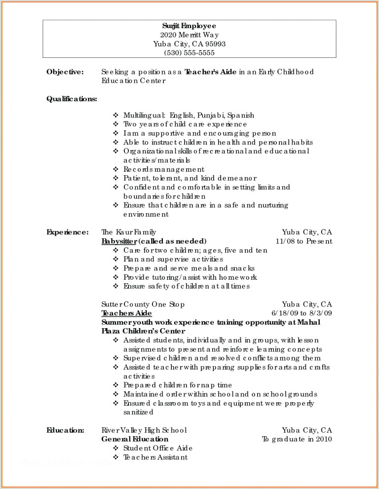 Resume Template In Spanish Unique Child Care Resume Sample Resume Design