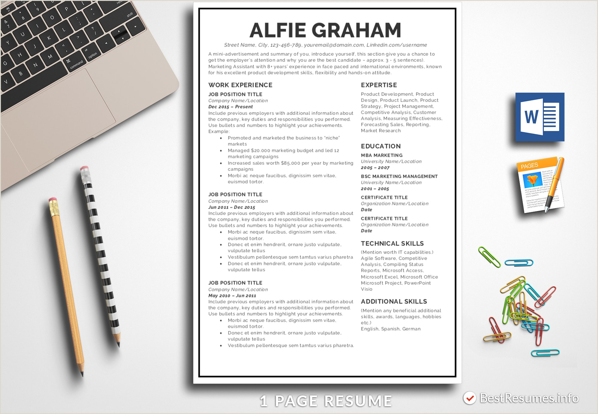 Resume Templates for Apple Pages Simple Resume Template Alfie Graham Bestresumes