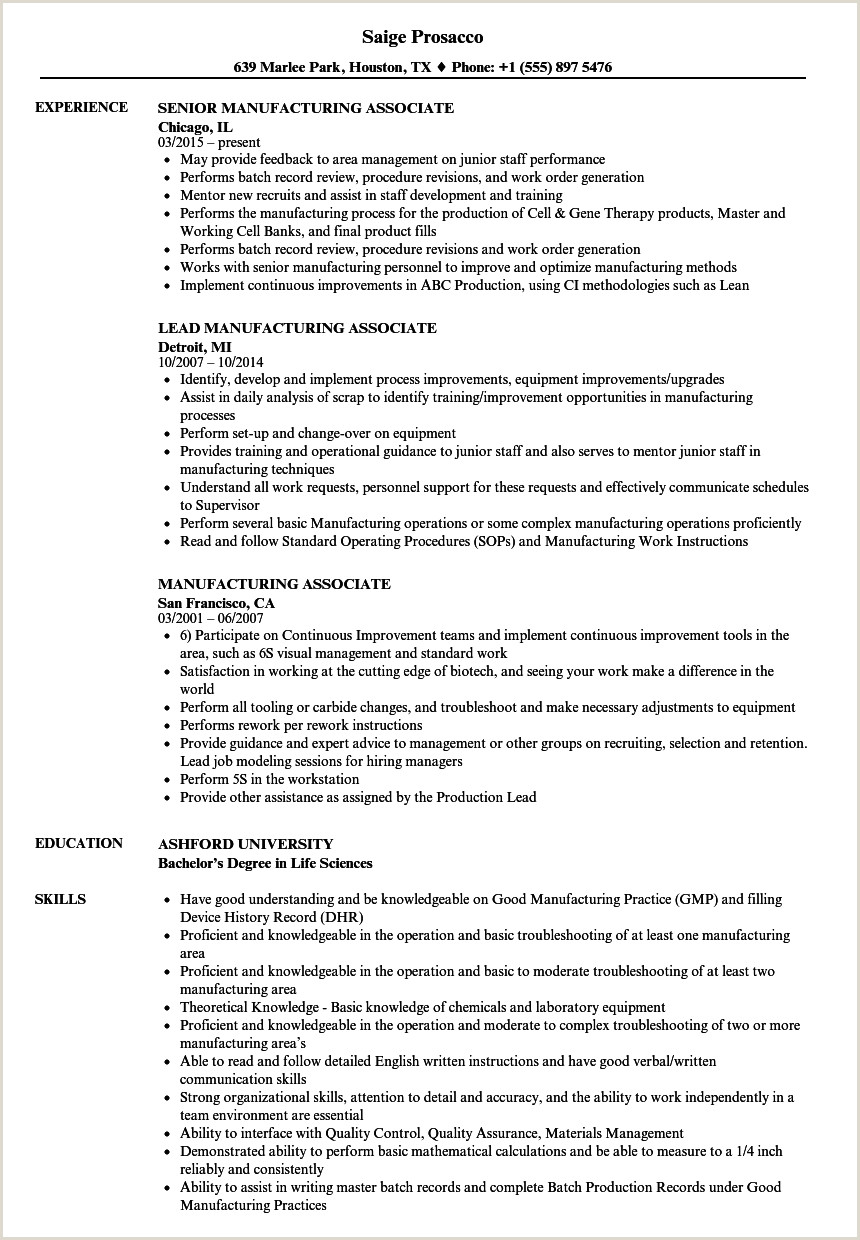 Resume with associates Degree Sample Manufacturing associate Resume Samples
