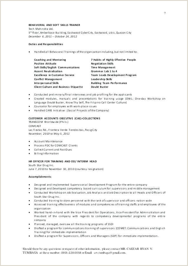 Child Care New Resume Examples for Childcare Workers