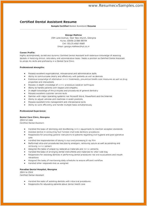 10 dental assistant resume example