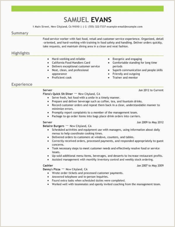 Resumes for Fast Food Resume Highlights Examples – Kizi Games