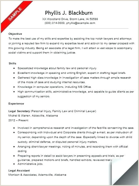 Resumes for Legal Secretary Brief Resume Template