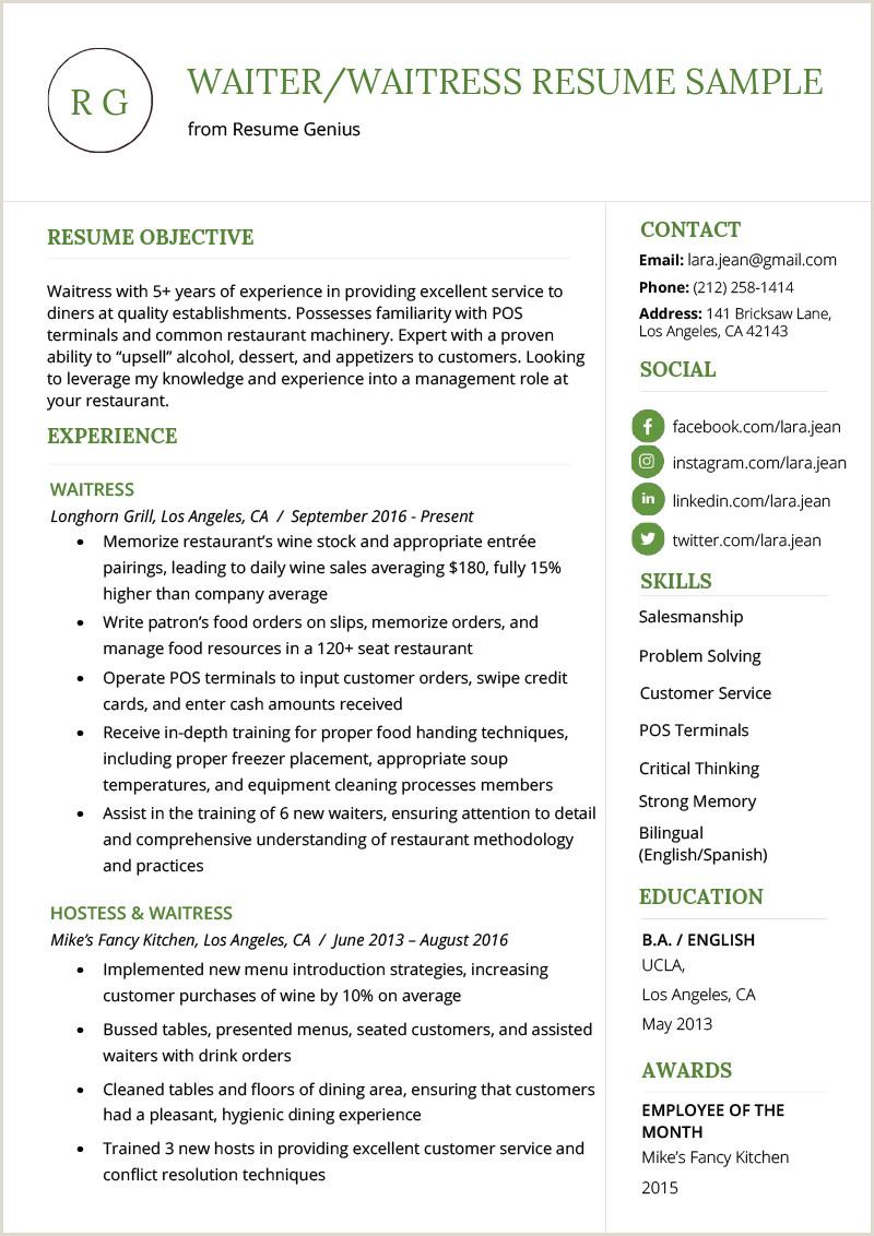 Resumes for Waitress Waitress Resume Sample Cover Letter Waiter Functional