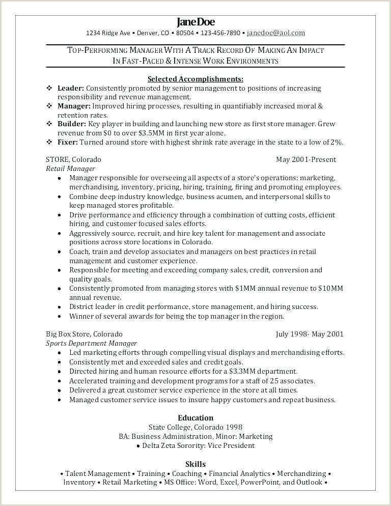 Retail General Manager Resume Lovely Examples Retail Resumes – 50ger