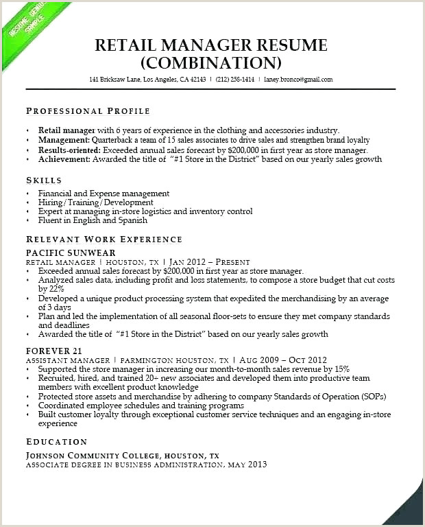 Resume for Retail Manager Best Retail Store Manager