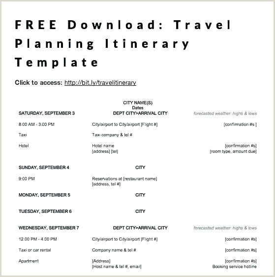trip planner template excel
