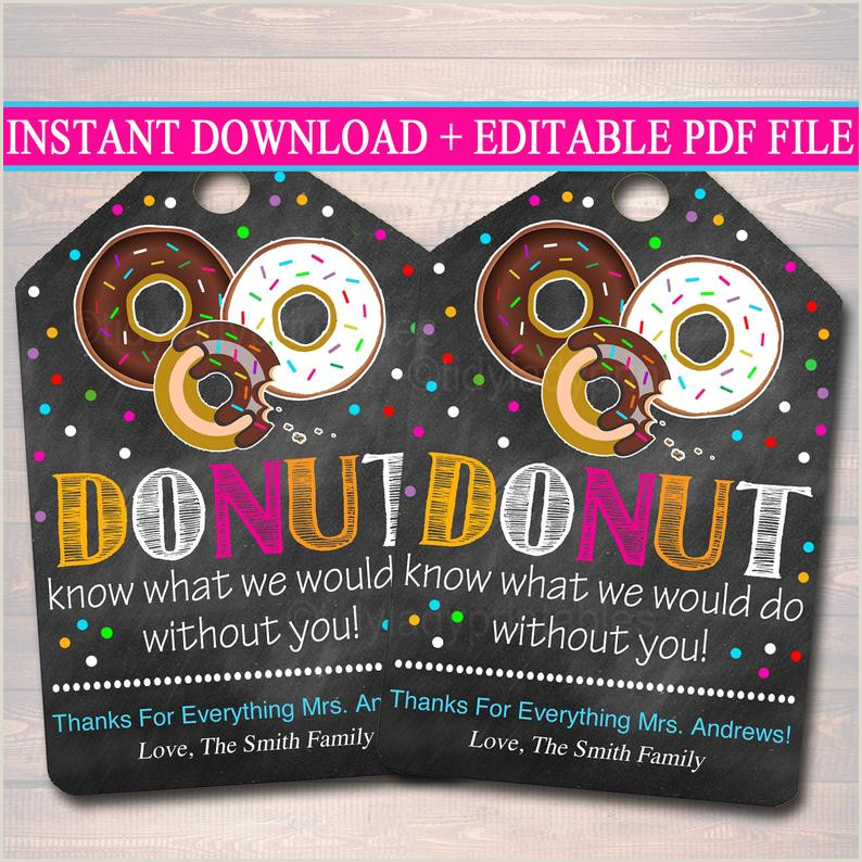 EDITABLE Donut Gift Tags Christmas Teacher Volunteer Nanny Babysitter Daycare Printable Donut Know What Do Without You INSTANT DOWNLOAD