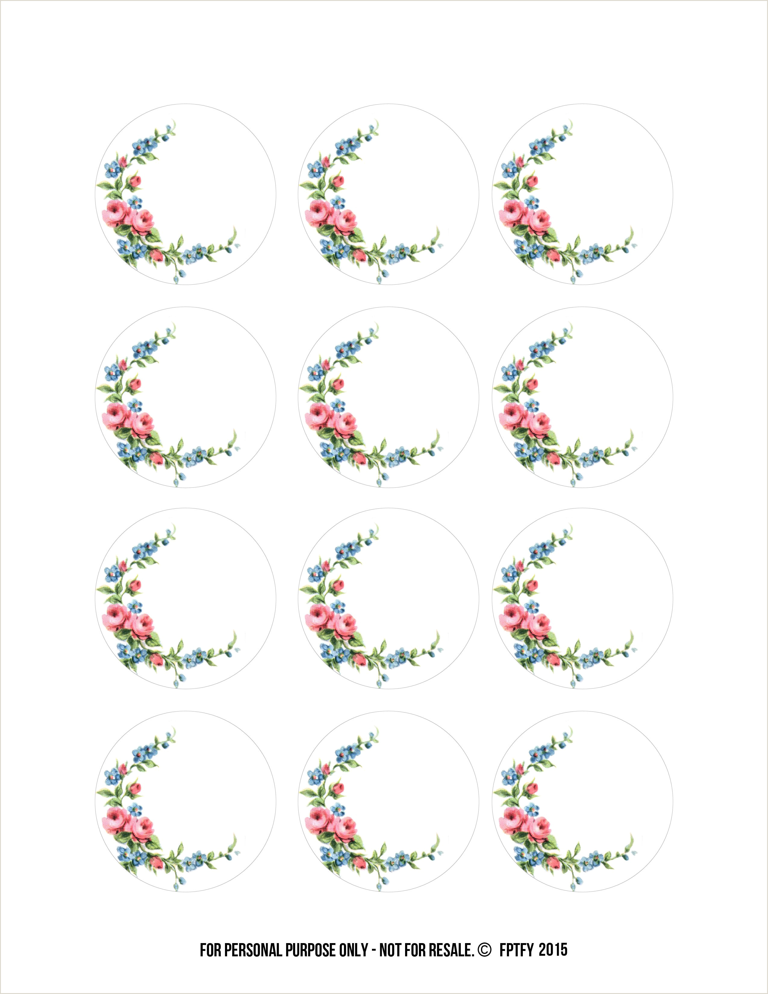 Labels Free 2 inch Floral Shabby Circles