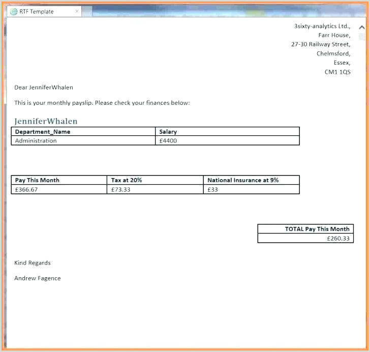 Salary Slip Template Free Payslip Template Word – Storywave