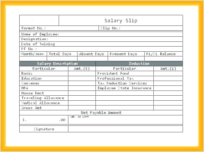 Salary Slip Template Pay Payslip South Africa Excel