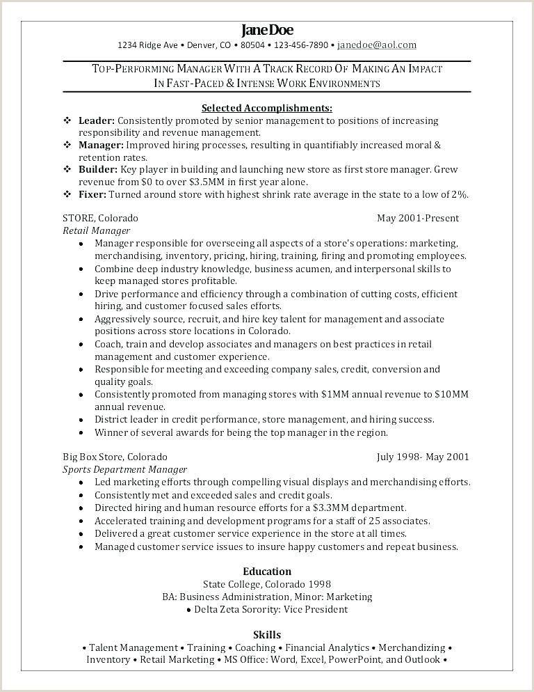 Sample Managerial Resume Professional Retail Resume Sample
