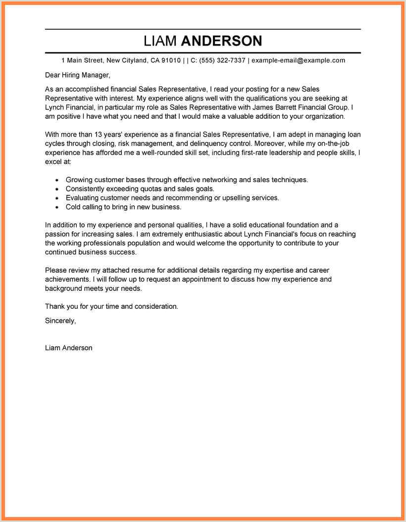 Sales Job Covering Letter 6 Sample Resume Covering Letter
