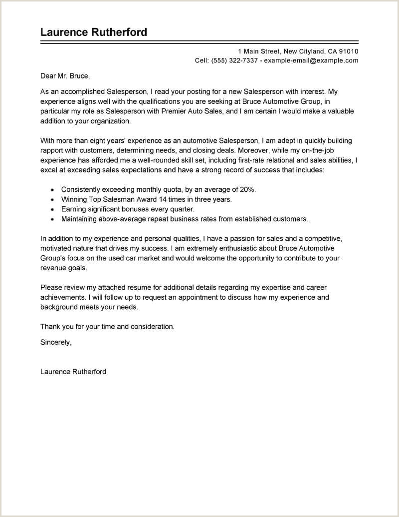 Sales Job Covering Letter Best Automotive Salesperson Cover Letter Examples