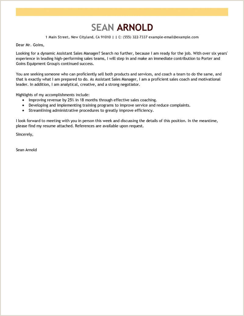 Sales Job Covering Letter Best Sales assistant Manager Cover Letter Examples