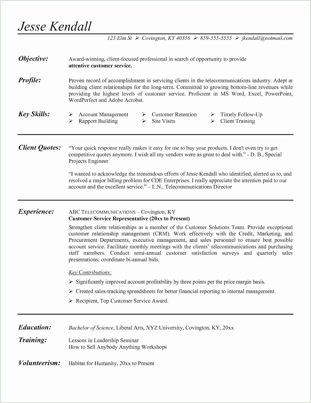 Sales Representative Resume Example Cv Presentation Nouveau Cv Relation Client Awesome Resume 0d