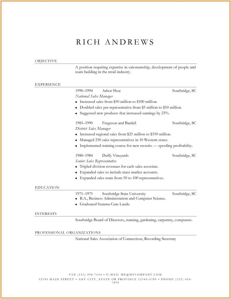 Sample Resume Sales And Marketing Manager New