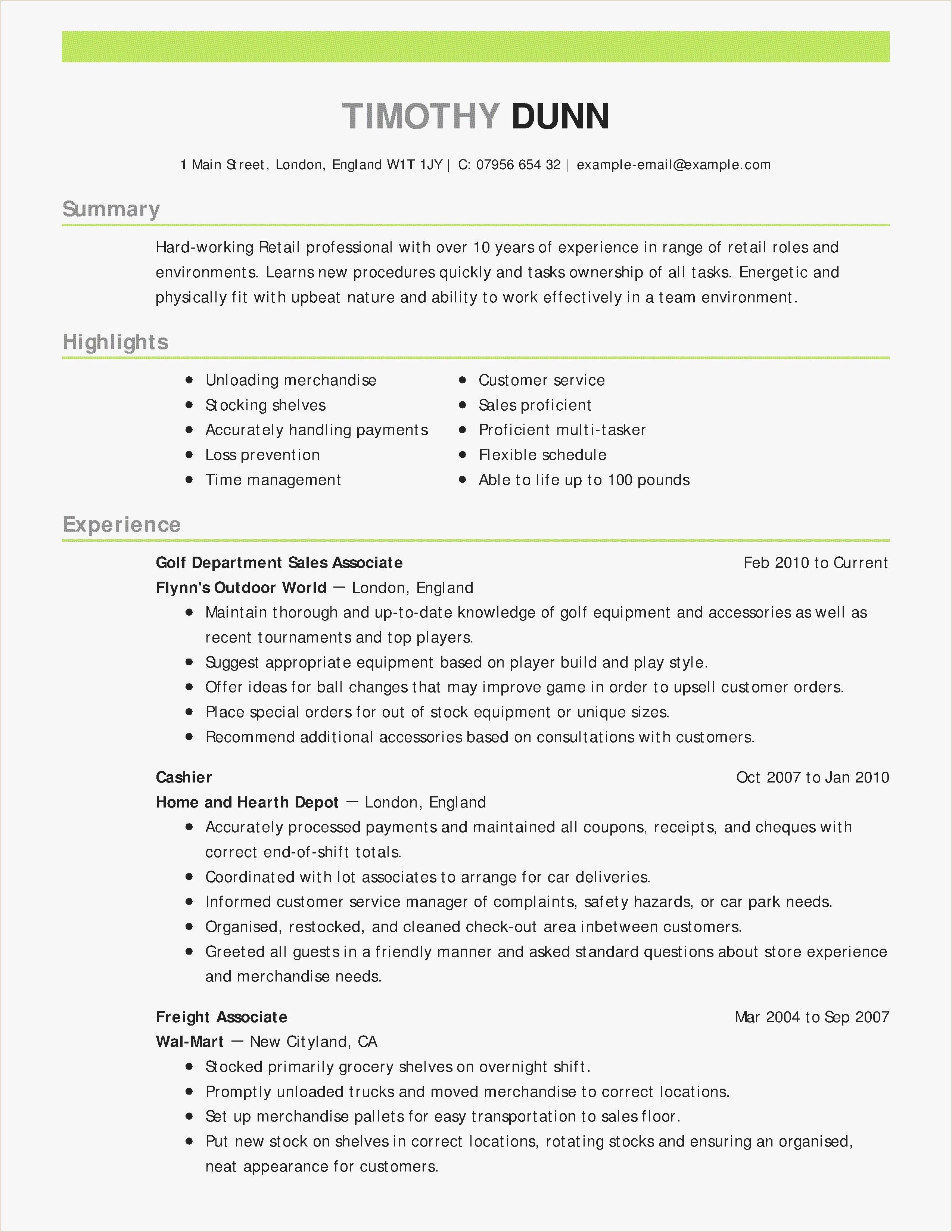 New Best Retail Resume