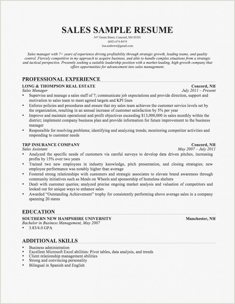 Resume Sample For A Sales And Marketing Executive Valid