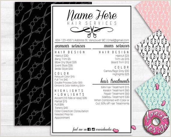 Hair salon service menu printable Custom Template