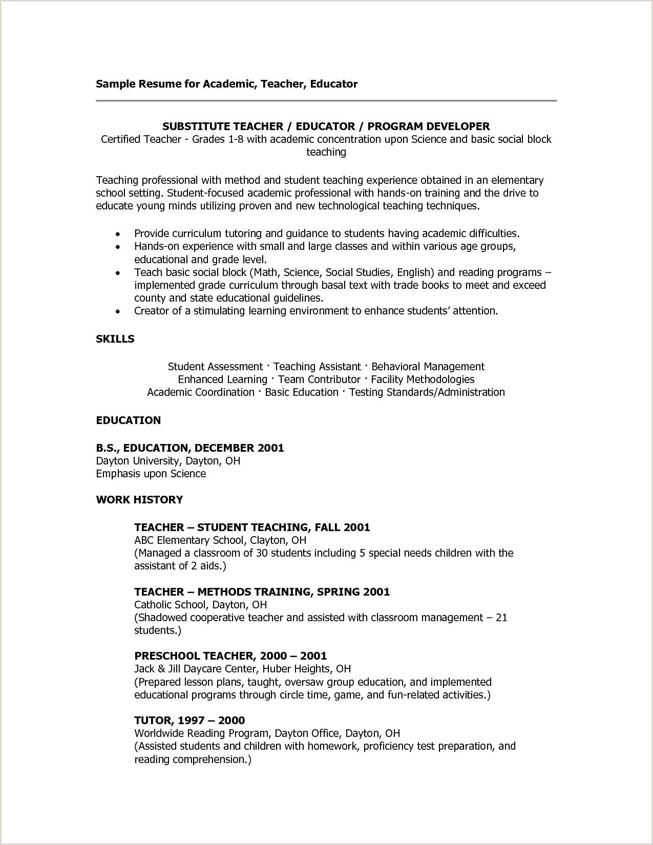 Sample Child Care Resume Enhance Cv Francais Nouveau Sample Child Care Resume Cover