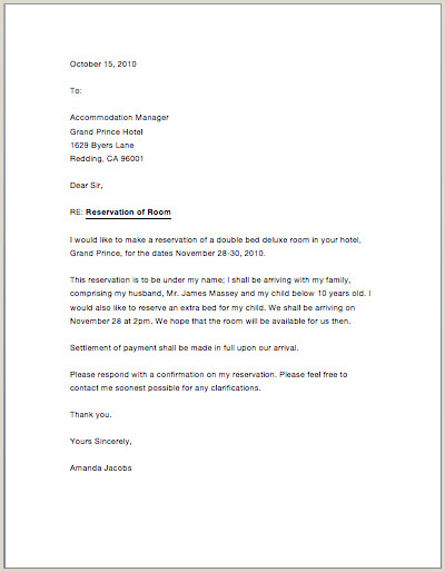 Sample Confirmation Letter to Child Hotel Reservation Letter Roma