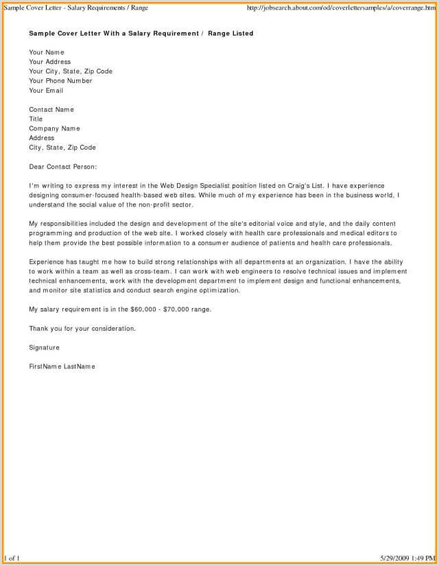 Sample Cover Letter for Non Profit organization Sample Cover Letter with Salary Requirements Examples 26