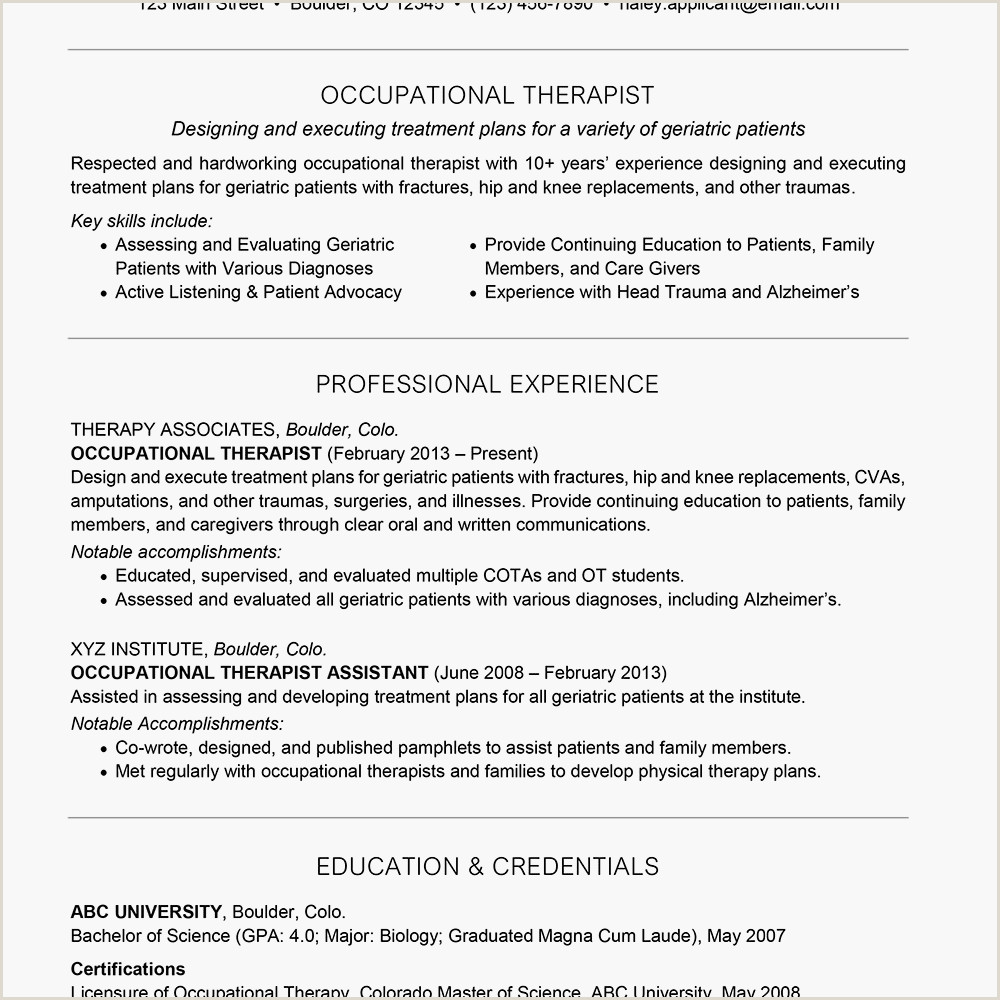 Sample Cover Letter for Physical therapist Occupational therapist Cover Letter and Resume Examples